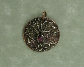 Tree of Life pink sapphire pendant copper and white copper DTPD