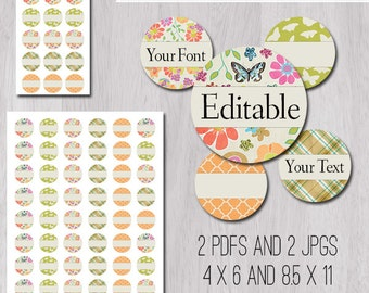 """Butterfly Garden Editable PDFs and JPGs 1 Inch 25mm Circle Bottle Cap Image 1"""" in 4x6 and 8.5x11 Digital Collage Sheet"""