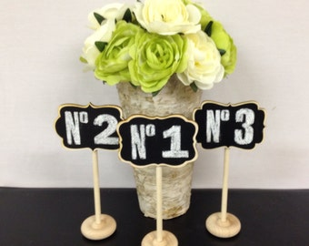 6 Mini Chalkboard Table Stands Chalkboard Table Numbers -Grace, Camden, Braden Style Wedding Chalkboards, Buffet Labels, Table Number