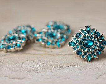 Acrylic Rhinestone Buttons - 5 - Teal Buttons - Madeline Button - 30mm - Plastic Buttons - Acrylic Buttons