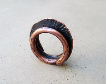 African Tribal Copper Ring, Urban, Ethnic, Rustic, Hip, Metalsmithed, Artisan Jewelry