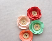 Paper flowers {set of four}. Gift toppers, place card setting, wedding decor, wedding cake, birthday decor