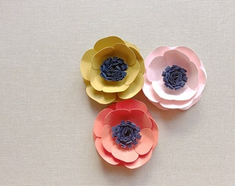 Paper flowers {set of three}. Gift toppers, place card setting, wedding decor, wedding cake, birthday decor