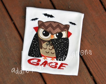Personalized Vampire Owl with Bats Halloween Kids Shirt
