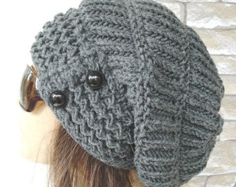 Knit Hat   Slouchy Beanie  Women hat gift for her Slouchy Beanie hat Warm  Slouchy Hat   Chunky Knit Hat Winter hat  Charcoal Gray  Fashion