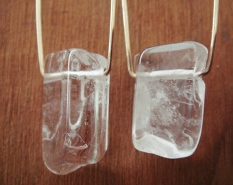 Crystal Quartz Rectangle Earrings
