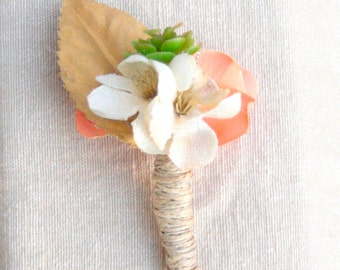 Succulents, Flowers, and Feathers Boutonnieres with Coral