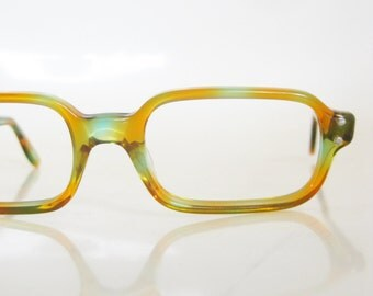 Vintage 1960s Tangerine Eyeglasses Swan USA America Womens Ladies Teal Bright Neon Colorful Orange Mottled Reading Glasses Sunglasses