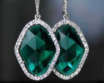 Gorgeous Emerald Green Crystals Framed with Halo Cubic Zirconia Dangling on CZ Detailed Silver French Earrings