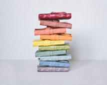 Mini Leather Journal - Pick Your Own - Rainbow Colours - Blank Handbound Note Books - 4 x 3