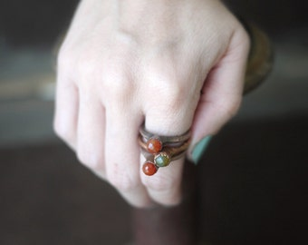 Copper Single Red Stone Stacker Rings - Fall Fashion - Made to Order