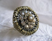 Sparkling Swarovski Crystal Filigree Cocktail Ring