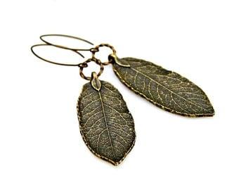 As Seen at GBK Golden Globes Gift Lounge 2015 Leaf Dangle Earrings Antique Bronze Earrings Bohemian Earrings Rustic Long Earrings Mei Faith