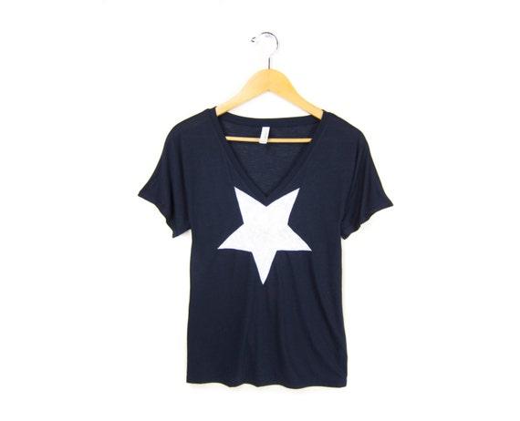 White Star - Hand STENCILED Deep V Neck Flowy Drop Sleeve Tee in Navy - S M L XL 2XL