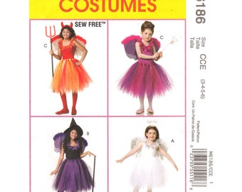 Girls Costume Pattern McCalls 6186 Dance TuTu Top Wings Sew Free Size 3 to 6 UNCUT