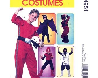 Boys Superhero Costume Pattern McCalls 4951 Jumpsuit Hood Masks Boot Covers Halloween Costume Pattern Childs Size 3 to 6 or 7 to 14