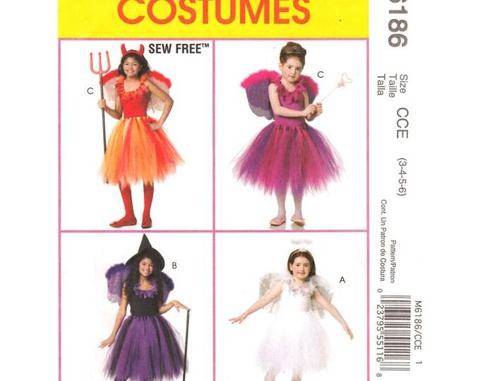 Girls Costume Pattern McCalls 6186 Dance TuTu Top Wings Sew Free Size 3 to 6 UNCUT