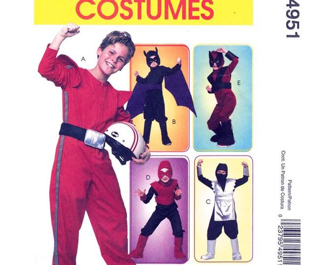 Boys Superhero Costume Pattern McCalls 4951 Jumpsuit Hood Masks Halloween Size 3-6 or 7-14