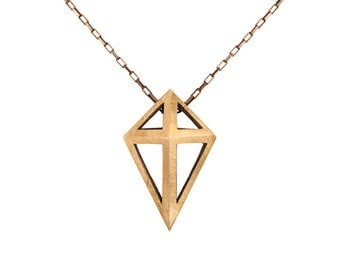 Open Prism Pendant in Sterling Silver and Brass // Long Reversible Necklace