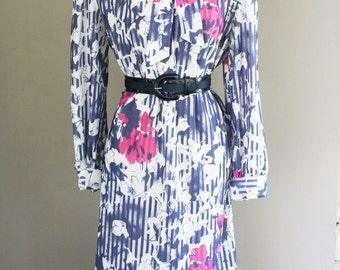 1970s Vintage Day Dress -Polyester Secretary Dress - Anthony Richards - Blue Pink Pattern Floral Stripe - Classic - Work Dress - 42 Bust