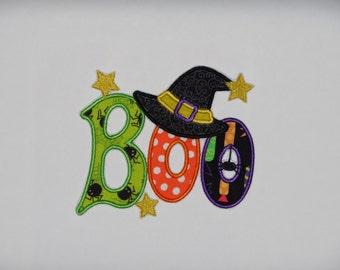 "Medium Embroidered Iron On Applique ""BOO"""