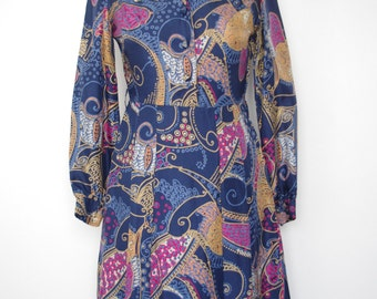 French vintage 1970s blue dress with pink and gold -  small medium S M