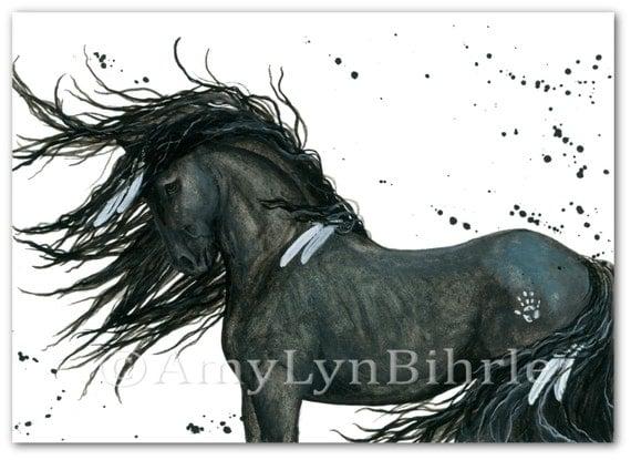 Majestic Horse Friesian Native American Feathers Art Prints