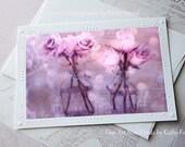 Lavender Roses Note Card, Impressionistic Purple Lavender Floral Card, Dreamy Lavender Roses Paris Note Card, Paris Shabby Chic Note Cards