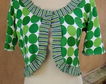 Women's Upcycled Medium Cotton Blend Bolero- Limerick Dot