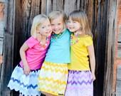 All Skirts- Buy 2, Get 1 FREE!  Three Munchkins-Shaded Chevron Twirl Skirts