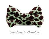 Geometric Chocolate Bow Tie Dog Collar- Barcelona in Chocolate