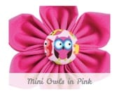Pink Owls Dog Collar Flower - Mini Owls in Pink