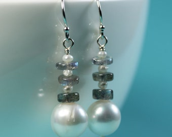 Pearl Drop earrings with Labradorite and seed pearls, Sterling silver French Hooks, Modern pearl earrings by art4ear, Free shipping Canada