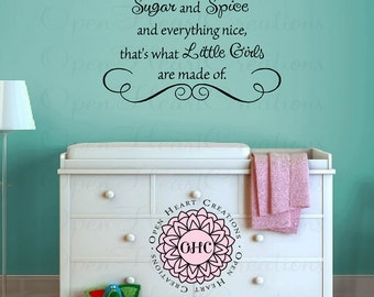 Sugar and Spice and Everything Nice Vinyl Wall Decal Sticker - baby nursery girl playroom sisters 22 x 32 BA0501