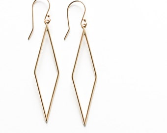 "Modern gold earrings handmade out of solid 14K yellow gold in a unique and eyecatching long minimalist diamond shape - ""Geometric Earrings"""