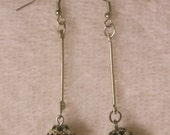 Silver and Black Rhinestone Ball with Silver Bar Earrings
