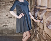 Flowing Capelet Dress - cowl dress - tent dress - romantic evening or day dress -  tunic dress  -  casual dress - black dress - swing dress