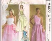 Prom Dress McCalls 4377, Evening Gown Pattern, Strapless Gown, One Shoulder Gown, Wedding Dress, Quinceanera Dress, Size 10- 16 Uncut