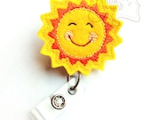 Happy Sunshine, Name Badge Holders, Feltie Badge, Cute Badge Reels, Retractable ID Badge Holder, Felt Badge Reel, RN Badge