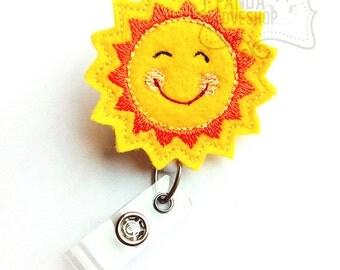 Happy Sunshine, Name Badge Holders, Feltie Badge, Cute Badge Reels, Retractable ID Badge Holder, Felt Badge Reel, RN Badge
