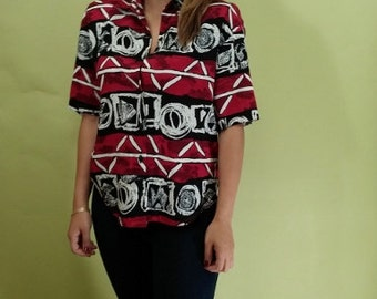 Vintage ABSTRACT Shirt. 80s Black and Red Top - Geometric Print - Medium to Large