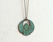 Verdigris scarab necklace teal grunge egyptian beetle necklace