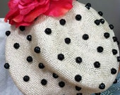 Fun and Funky Vintage Natural Straw Cloche Hat with Black Buttons and Silk Fuschia Peony for Wedding, Special Occasion