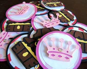 Princess and Pirate Party Tags, Princess and Pirate Favor Tags, Pirate and Princess Favor Tags, Pirate and Princess Birthday, Set of 12