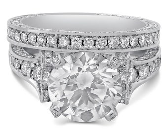 9mm Round Moissanite and Diamonds Engagement Ring & Band Wedding Set R207MS