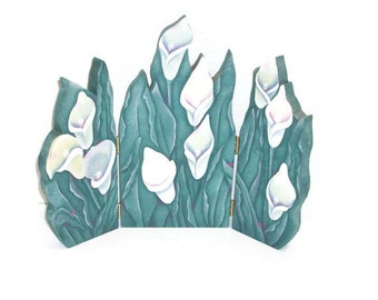 Hand Painted Calla Lily Tri-Fold Wood Screen | Triptych Folding Screen