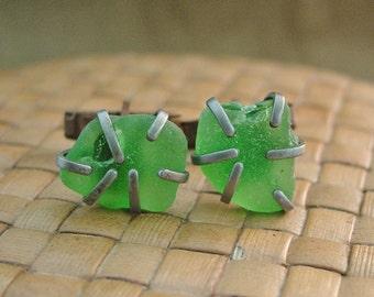 Sea Glass Cuff Links