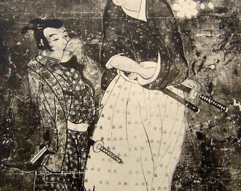 Vintage Japanese Print - Vintage Print - Magazine Insert - Vintage Magazine Page - Ukiyo-e Painting Flower Viewing Samurai  Cherry Blossoms