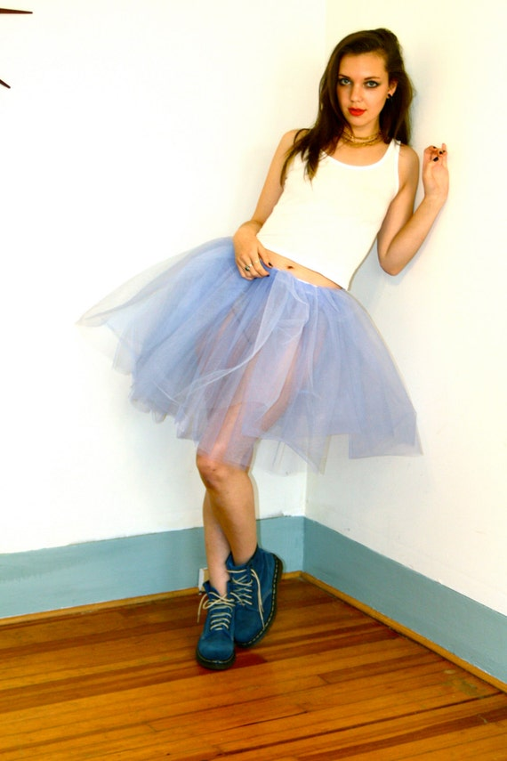 Vintage Womens Tutu Skirt Periwinkle Tulle Light Pastel Powder Blue Medium Short Length Adult Fairy Ballet Two Double Layer Leo's Dancewear