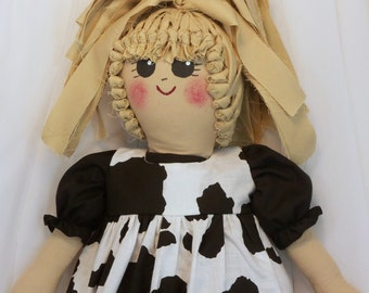 Plastic Bag Holder Doll, Cow Print, Recycle, Grocery Bag Holder, Kitchen Storage